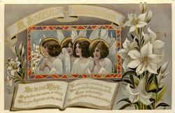 A JOYFUL CHRISTMAS  four angels & Easter lilies