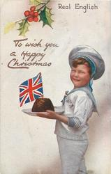 TO WISH YOU A HAPPY CHRISTMAS  boy faces left, Xmas pudding with flag