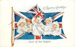 CHRISTMAS GREETINGS  five children, two flags