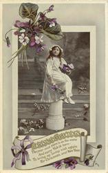CHRISTMAS GREETINGS  girl sits on pedestal holding flowers, violets around