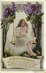 A HAPPY CHRISTMAS  girl & doll on swing, lilac