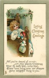 LOVING CHRISTMAS GREETINGS  girl sits on bed wearing punch puppet, toys, drum