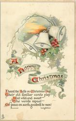 A HAPPY CHRISTMAS  three bells, ivy