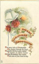 MERRY CHRISTMAS GREETINGS  two bells, chrysanthemums