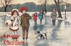 5 children skate front on icy pond, dog accompanies