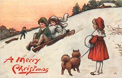 children toboggan downhill watched by girl with dog