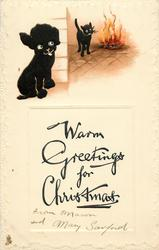 WARM GREETINGS FOR CHRISTMAS  black dog, black cat by fire