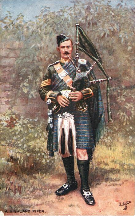 A HIGHLAND PIPER  standing with back to a wall