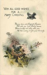 WITH ALL GOOD WISHES FOR A HAPPY CHRISTMAS  two birds & nest, flowers