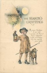 THE SEASON'S GREETINGS  shepherd boy stands by dog, holding crook & lantern, cottage & full moon upper left