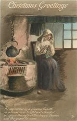 CHRISTMAS GREETINGS  woman knits, kettle over fire