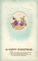 A HAPPY CHRISTMAS   embroidered silk flowers in basket