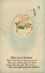 MANY HAPPY RETURNS   embroidered silk roses