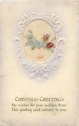CHRISTMAS GREETINGS   embroidered  silk flowers