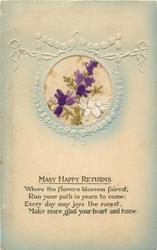 MANY HAPPY RETURNS  silk white & purple flowers
