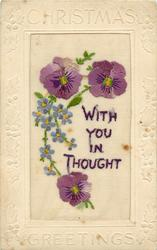 CHRISTMAS GREETINGS embroidered pansies