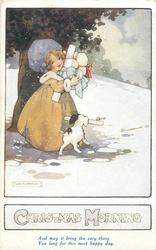 CHRISTMAS MORNING  girl with many parcels, dog