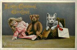LOVING CHRISTMAS GREETINGS  kitten in basket, teddy, doll