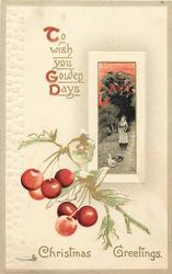 CHRISTMAS GREETINGS  inset girl with basket & two geese; cherry