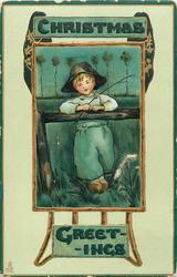 CHRISTMAS GREETINGS  Dutch boy leans on fence facing front