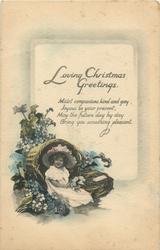 LOVING CHRISTMAS GREETINGS  girl & basket, blue forgrt-me-nots