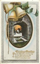 CHRISTMAS GREETINGS  bells & church insert