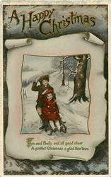 A HAPPY CHRISTMAS  two girls toboggan