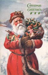 CHRISTMAS GREETINGS  3/4 length Santa with arms full of toys stands facing front