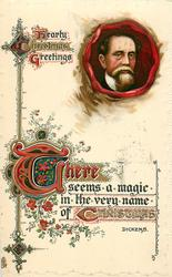 HEARTY CHRISTMAS GREETINGS  Dickens inset & quote