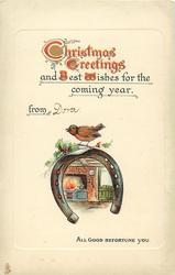 CHRISTMAS GREETINGS  robin on horseshoe over hearth