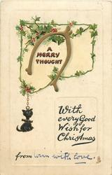 A MERRY THOUGHT  black cat charm, wishbone