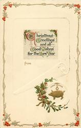 CHRISTMAS GREETINGS AND ALL GOOD WISHES FOR THE NEW YEAR  gilt pig charm with GOOD LUCK