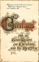 GREETINGS AND ALL GOOD FOR CHRISTMAS AND THE NEW YEAR
