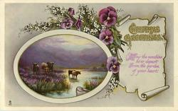 CHRISTMAS GREETING or A HAPPY CHRISTMAS  cattle, heather, pansies