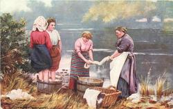 four woman, two wringing wash, two with feet in tub
