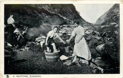 A SCOTTISH WASHING  three women in the stream