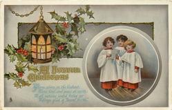 A JOYFUL CHRISTMAS  3 choristers in inset, lantern, holly