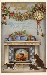 CHRISTMAS GREETINGS  cat & 3 kittens before fire