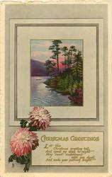 CHRISTMAS GREETINGS  LET THIS CHRISTMAS GREETING TEL.... lochside inset, pink chrysanthemums