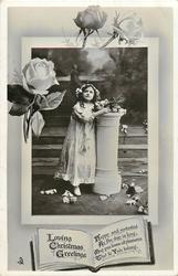 LOVING CHRISTMAS GREETINGS  inset girl next to pillar, roses above
