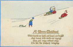 A MERRY CHRISTMAS  Dutch children toboggan on right