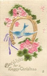 BEST WISHES FOR A HAPPY CHRISTMAS  gilt horse-shoe, blue-bird, pink roses