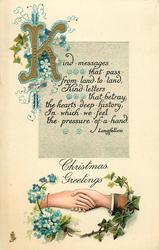 CHRISTMAS GREETINGS handshake with verse above
