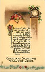 CHRISTMAS GREETINGS AND ALL GOOD WISHES  clock & Tiffany lamp