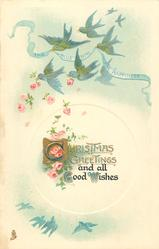 CHRISTMAS GREETINGS AND ALL GOOD WISHES  on banner carried by blue-birds