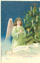UNTO US A CHILD IS BORN, angel in green dress & Xmas tree