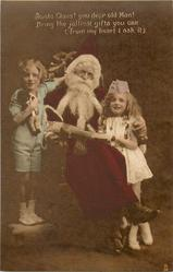 SANTA CLAUS! YOU DEAR OLD MAN! ... Santa seated in chair, boy & girl on either side