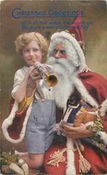 Santa helps boy play trumpet, golly