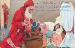 CHRISTMAS GREETINGS  girl sleeping in bed, Santa sitting next to her with a sack of toy