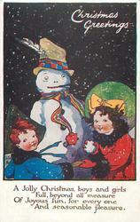 CHRISTMAS GREETINGS  boy, girl, snowman